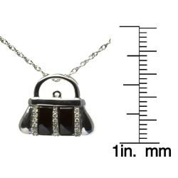 Silver Onyx and 1/10ct TDW Diamond Handbag Necklace (I-J, I2-I3)
