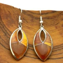 Alpaca Silver Honey Tiger's Eye Earrings (Mexico)