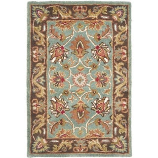 Handmade Heritage Blue/ Brown Wool Rug (3' x 5')