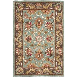 Handmade Heritage Blue/ Brown Wool Rug (3' x 5')