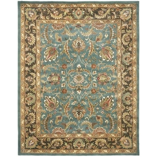 Handmade Heritage Blue/ Brown Wool Rug (4' x 6')