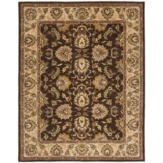Handmade Heritage Treasure Brown/ Ivory Wool Rug (9'6 x 13'6)