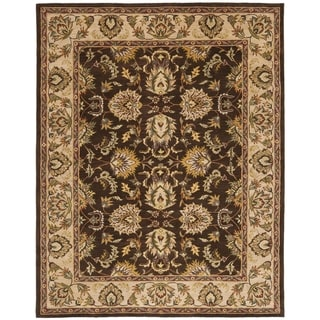 Handmade Heritage Treasure Brown/ Ivory Wool Rug (9'6 x 13'6)