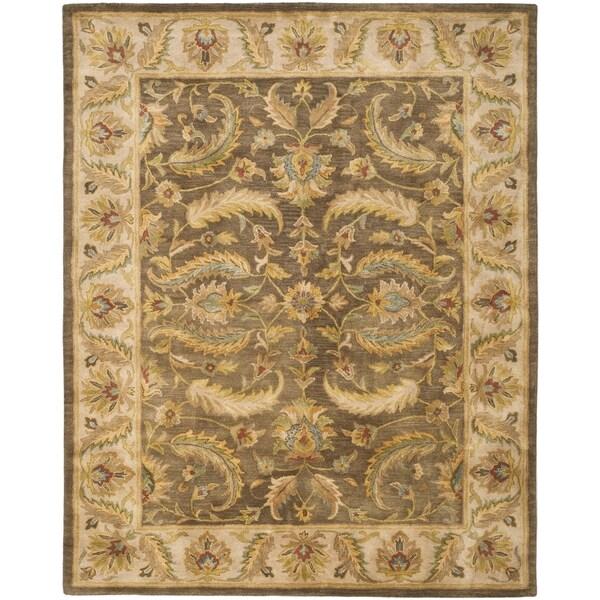Safavieh Handmade Heritage Green/ Beige Wool Rug (7'6 x 9'6)