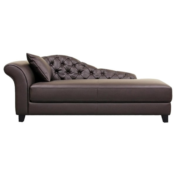 Josephine brown faux leather victorian chaise lounge chair for Brown leather chaise lounge