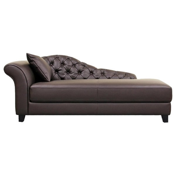 Josephine brown faux leather victorian chaise lounge chair for Bellagio button tufted leather brown chaise