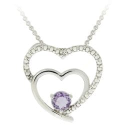 Glitzy Rocks Sterling Silver Amethyst and Diamond Heart Necklace