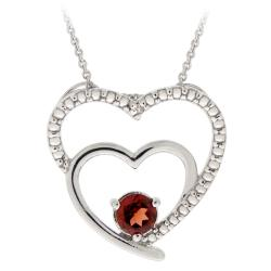 Glitzy Rocks Sterling Silver Garnet and Diamond Heart Necklace