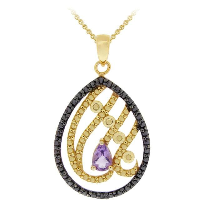 Glitzy Rocks 18k Gold over Silver Amethyst and Black Diamond Necklace