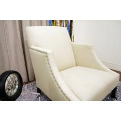 Heddery Cream Linen Modern Club Chair