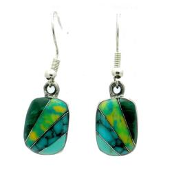 Alpaca Silver Turquoise and Malachite Diagonal Stone Earrings (Mexico)