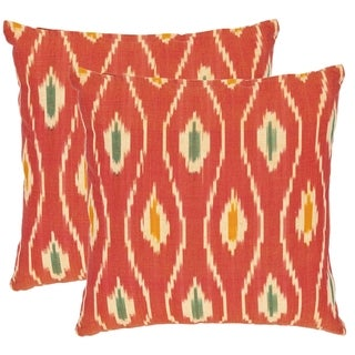 Diamond Ikat 18-inch Red/ Ivory Decorative Pillows (Set of 2)