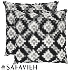 Safavieh Deco 18-inch Black/ White Decorative Pillows (Set of 2)