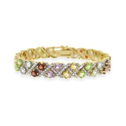Glitzy Rocks 18k Gold over Silver 11.25 CTW Multi-gemstone and Diamond Bracelet