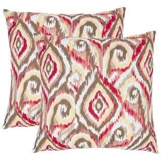 Safavieh Ikat 18-inch Brown/ White Decorative Pillows (Set of 2)