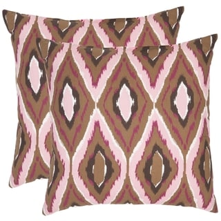 Safavieh Diamond Ikat 22-inch Brown/ Pink Decorative Pillows (Set of 2)
