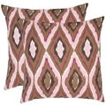 Diamond Ikat 22-inch Brown/ Pink Decorative Pillows (Set of 2)