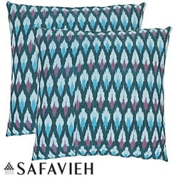 Diamond Ikat 18-inch Blue Decorative Pillows (Set of 2)