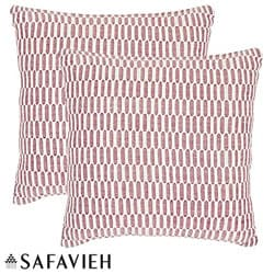 Safavieh Manhattan 18-inch Red/ Ivory Decorative Pillows (Set of 2)
