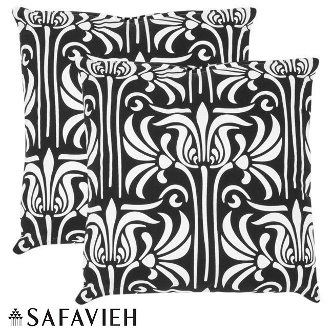 Safavieh Monaco 18-inch Black/ White Decorative Pillows (Set of 2)