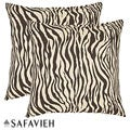 Zebra 18-inch Brown/Ivory Decorative Pillows (Set of 2)