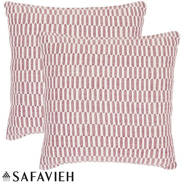 Safavieh Manhattan 22-inch Red/ Ivory Decorative Pillows (Set of 2) - 13607563 - Overstock.com ...