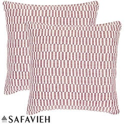 Safavieh Manhattan 22-inch Red/ Ivory Decorative Pillows (Set of 2)
