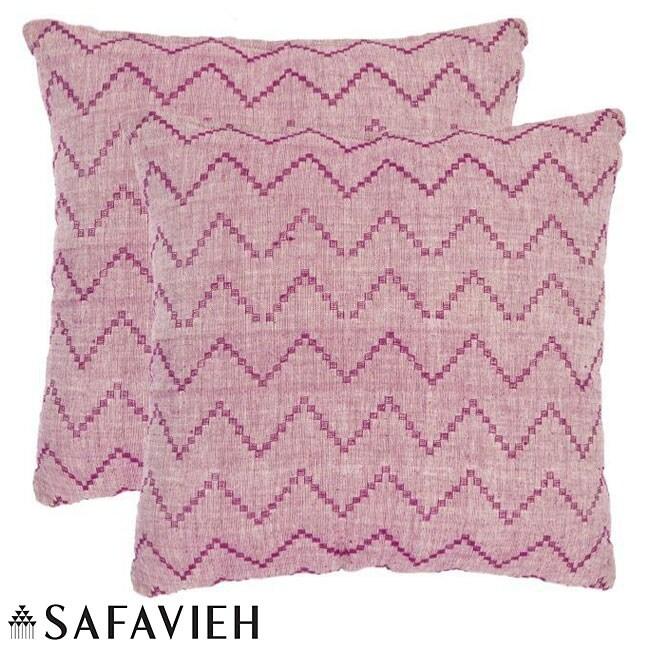 Safavieh Deco 18-inch Rose Red/ Purple Decorative Pillows (Set of 2)