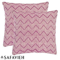 Safavieh Deco 18-inch Rose Red/ Purple Decorative Pillows (Set of 2)