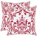 Safavieh Paris 18-inch Red/ White Decorative Pillows (Set of 2)