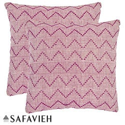 Safavieh Deco 22-inch Rose Red/ Purple Decorative Pillows (Set of 2)
