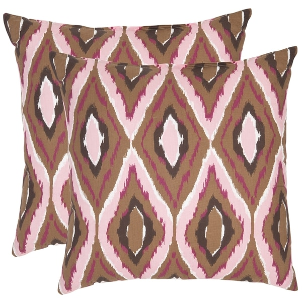 Safavieh Diamond Ikat 18-inch Brown/ Pink Decorative Pillows (Set of 2)