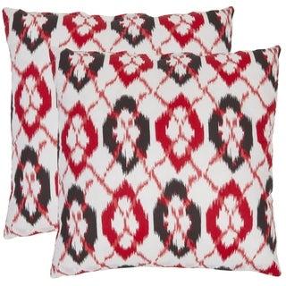 Ikat 18-inch White/ Red Decorative Pillows (Set of 2)