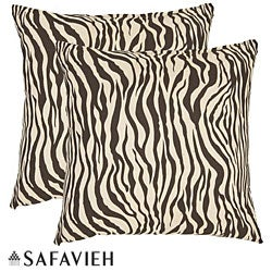 Zebra 22-inch Ivory/ Brown Decorative Pillows (Set of 2)