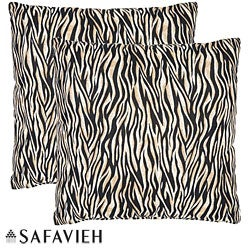 Safavieh Safari Zebra 18-inch Ivory/ Black Decorative Pillows (Set of 2)