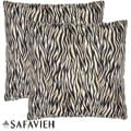 Safari Zebra 22-inch Ivory/ Black Decorative Pillows (Set of 2)