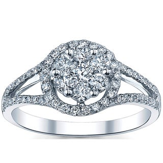 18k White Gold 7/8ct TDW Round-cut Diamond Engagement Ring (G-H, SI1-SI2)