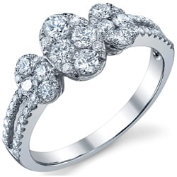 18k White Gold 1 1/10ct TDW Diamond Engagement Ring (G-H, SI1-SI2)