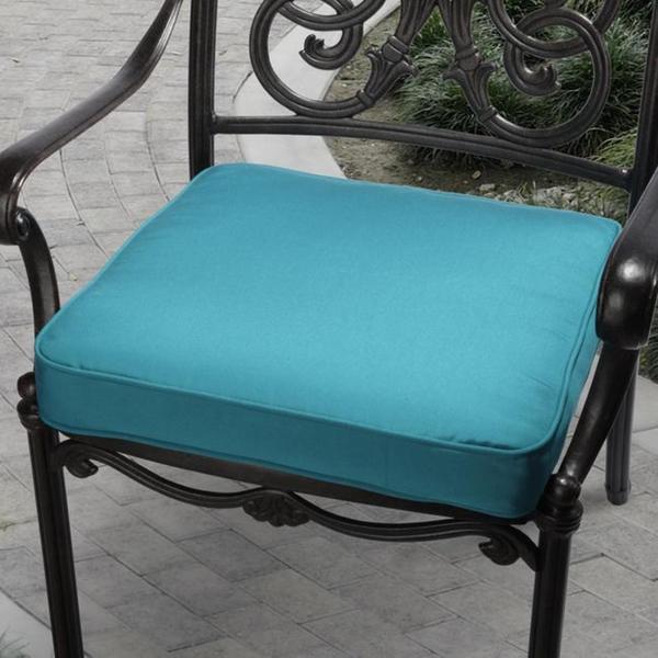 19 in Indoor Outdoor Teal Blue Cushion made w Sunbrella