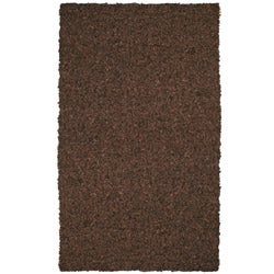 Hand-tied Pelle Short Shag Dark Brown Leather Rug (5' x 8')