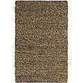 Hand-tied Pelle Short Shag Brown Leather Rug (5' x 8')