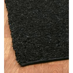Hand-tied Pelle Short Shag Black Leather Rug (5' x 8')
