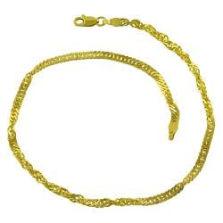 Fremada 14k Yellow Gold 10-inch Singapore Chain Anklet