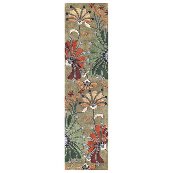 Alliyah Handmade Khaki Green New Zealand Blend Wool Rug (2' x 8')