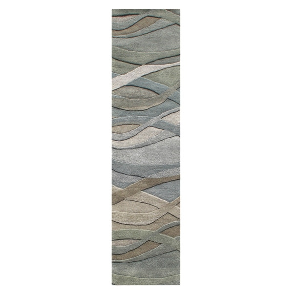 Alliyah Handmade Silver Grey, Highlight Grey/Green, and Light Rust New Zeeland Blend Wool Area Rug (2' x 8')