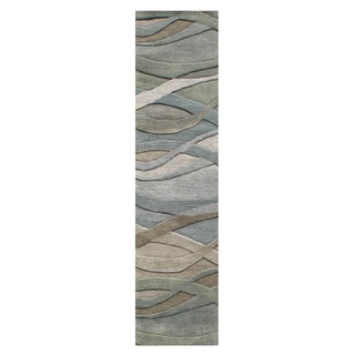 Alliyah Handmade Silver Grey, Highlight Grey/Green, and Light Rust New Zeeland Blend Wool Area Rug (2' x 8')