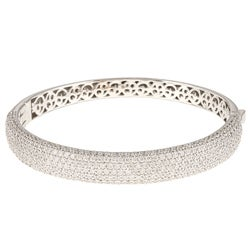 Sterling Silver Clear Cubic Zirconia Bangle Bracelet