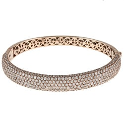 Rose-Gold-over-Sterling-Silver Clear Cubic Zirconia Bangle Bracelet with Hidden Clasp