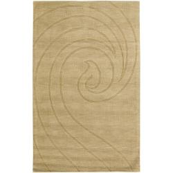 Hand-Tufted Mandara Gold Wave New Zealand Wool Rug (9' x 13')