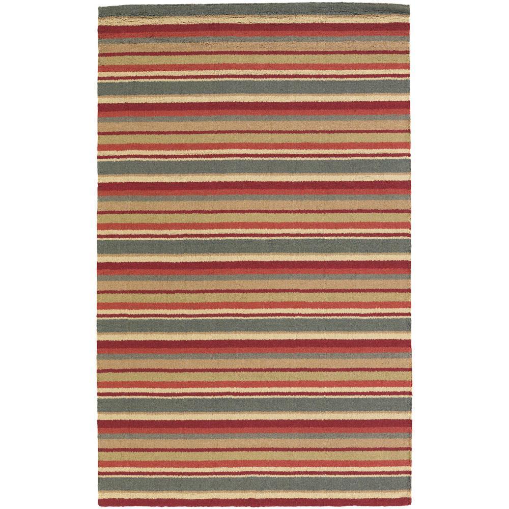 Hand-Tufted Mandara Multicolor Striped New Zealand Wool Rug (9' x 13')